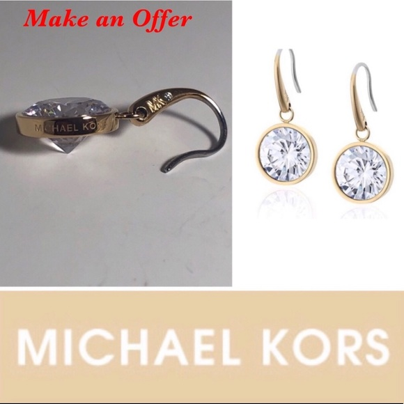 Michael Kors Jewelry - Michael Kors Gold Tone Crystal Drop Earrings